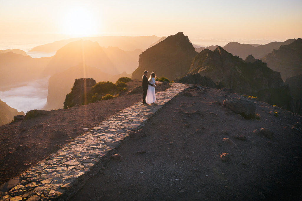 sunset, mountains and couple in love
