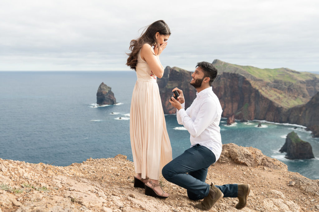 Photo of marriage proposal in Madeira