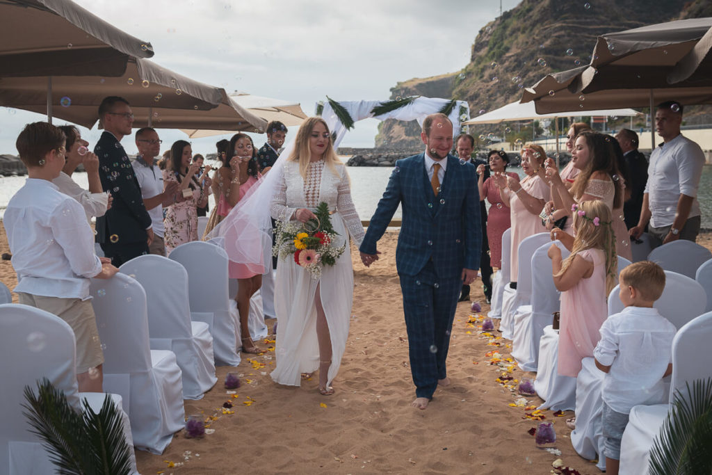 just-married at beach wedding in Madeira